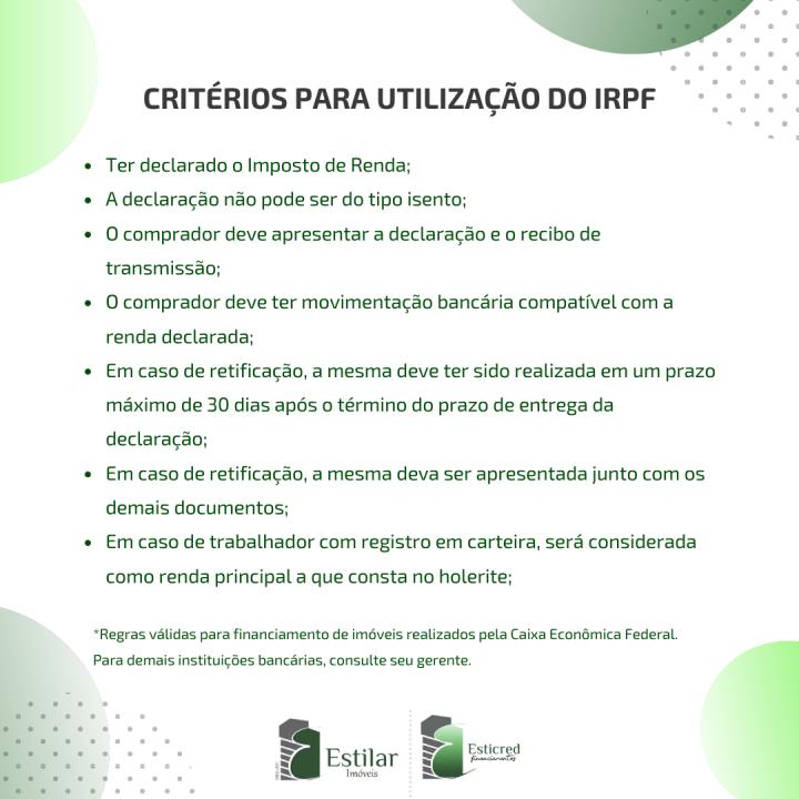 CRITÉRIOS PARA UTILIZAÇÃO DO IRPF